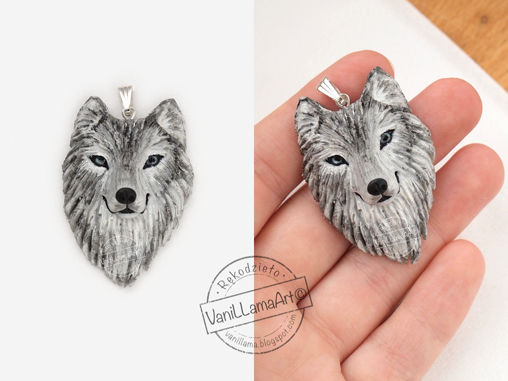 "Jasnooki wilczek, jeże i nowe ""zabawki"" ;) / Wolf pendant and hedgehogs earrings of polymer clay"