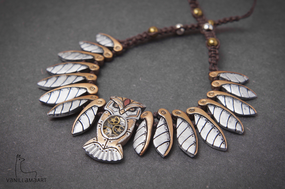 Owl Necklaces - Clockwork and Nature / Sowie Naszyjniki
